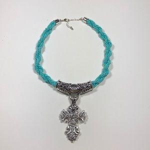 Costume cross pendant turquoise beaded necklace